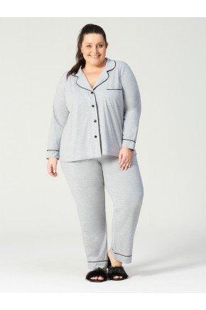 pijama plus size cinza frente