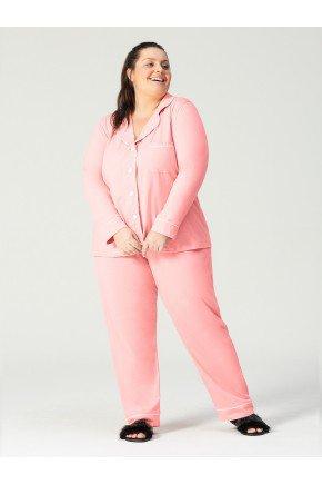 pijama plus size rosa frente