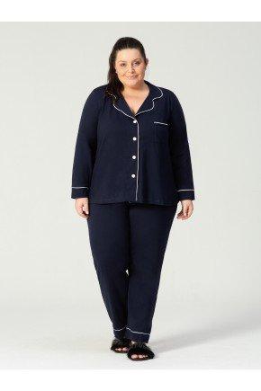 pijama plus size marinho frente 1