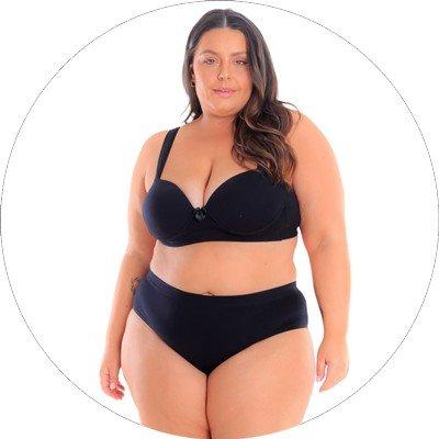 libertari lingerie plus size conjunto preto