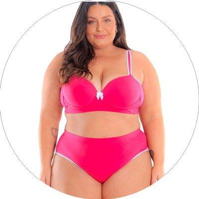 libertari lingerie plus size conjunto pink